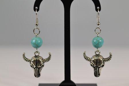 Modeschmuck Damenohrringe Anhänger Büffelkopf silberfarben Stein Ohrhänger