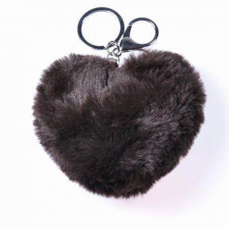 Puschel Herz dunkelbraun Schlüsselanhänger weich