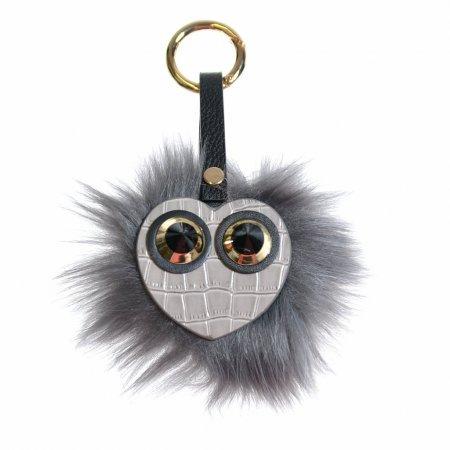 """Taschenanhänger Schlüsselanhänger """"Monster"""" Herz fake fur grau"""