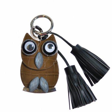 Taschenanhänger Schlüsselanhänger Eule braun Troddeln schwarz Keyholder