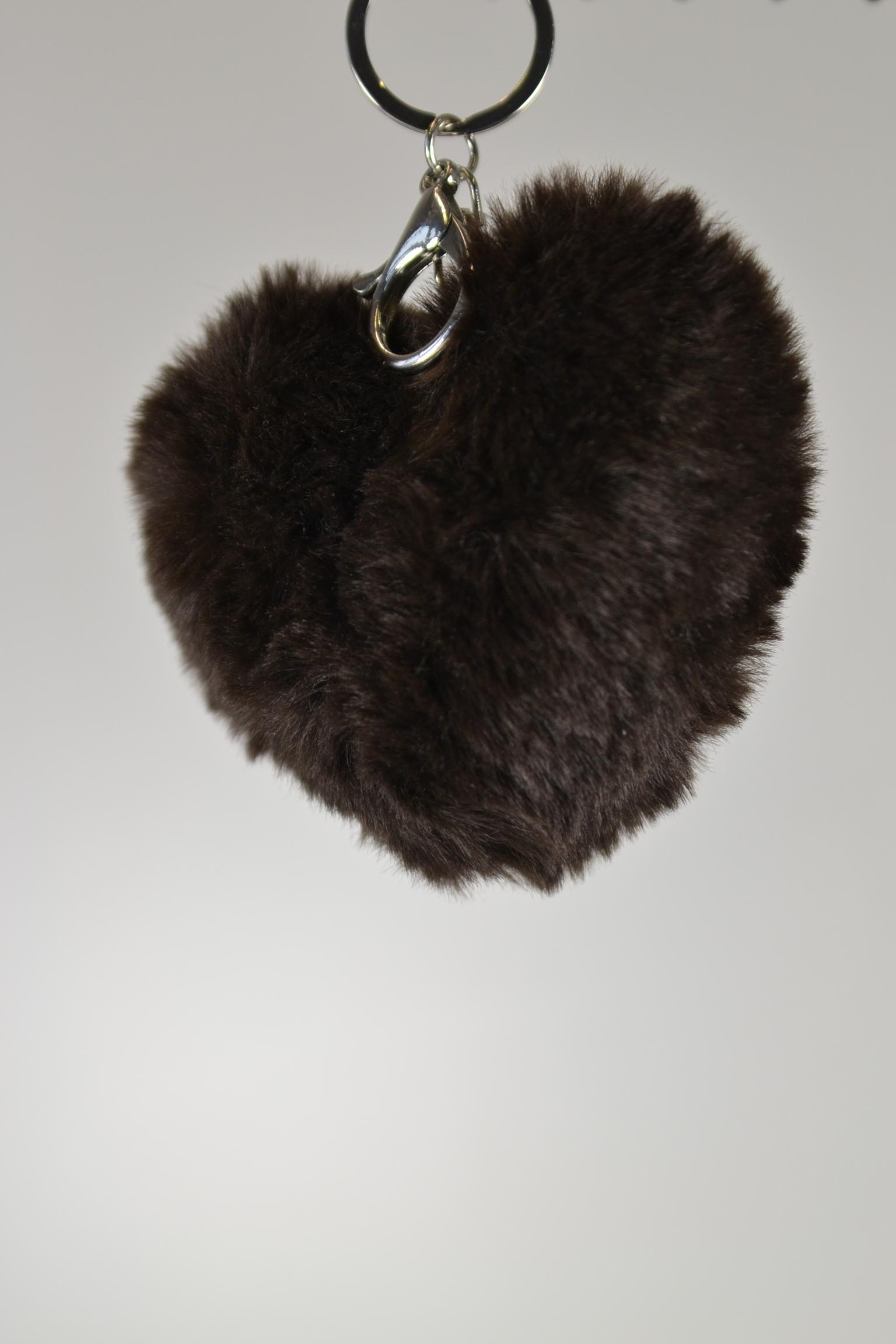 Anhänger Set Quaste silber Herz Kunstfell braun - aby-fashion