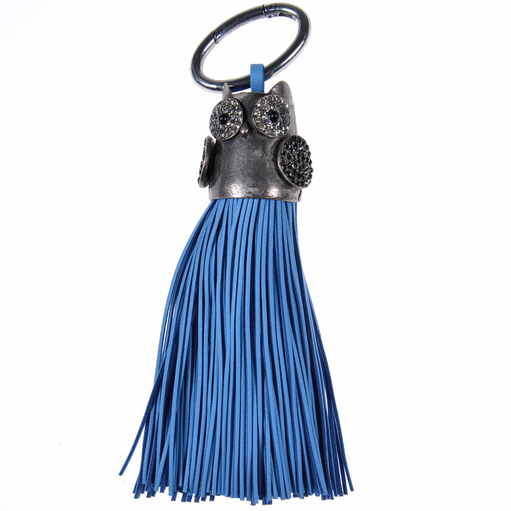 Quaste blau Eule Taschenanhänger Schlüsselanhänger Troddel - aby-fashion