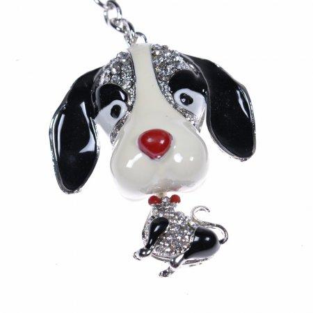 Schlüsselanhänger Hund schwarz weiss Taschenanhänger Anhänger Keychains