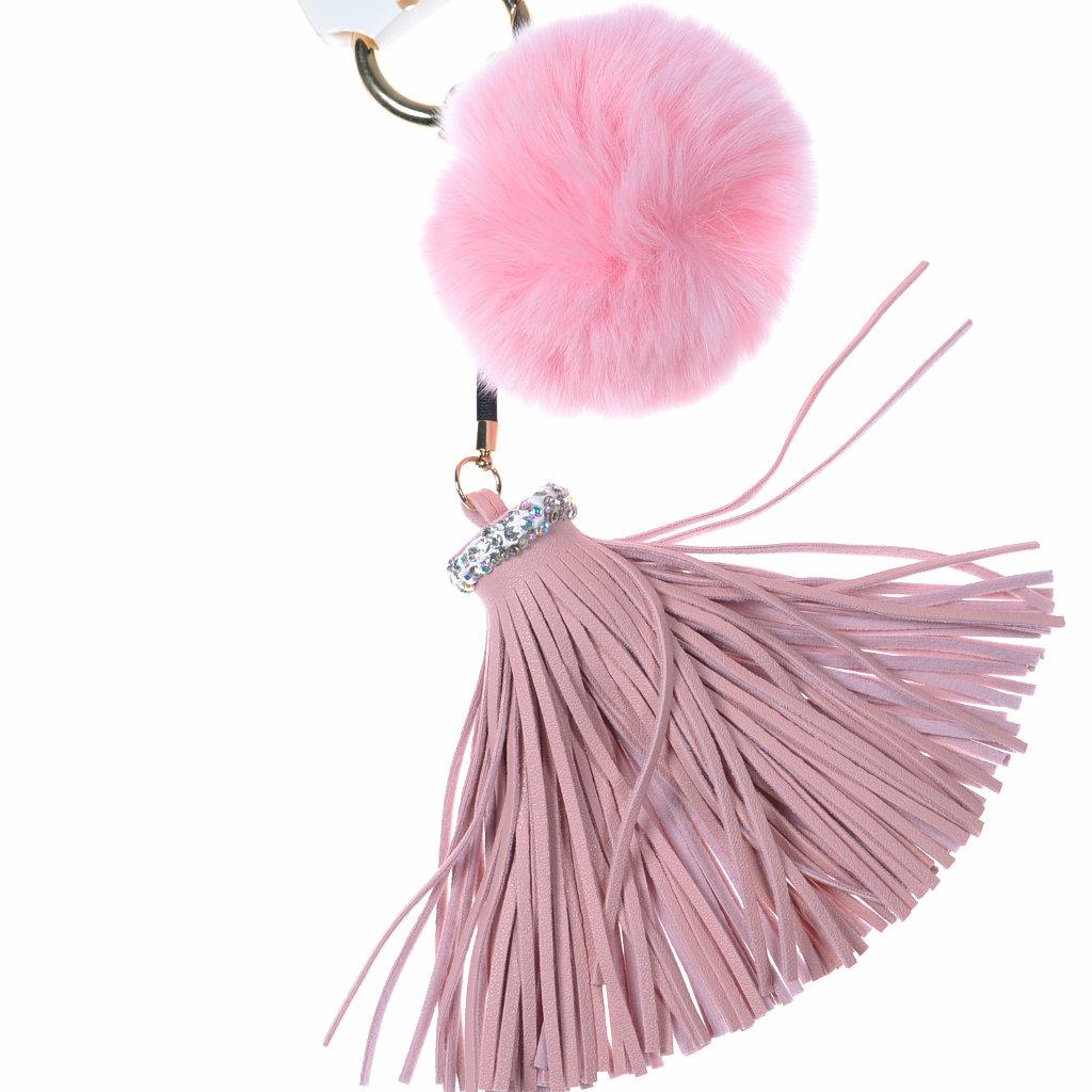 Quaste Fellbommel rosa Taschenanhänger - aby-fashion