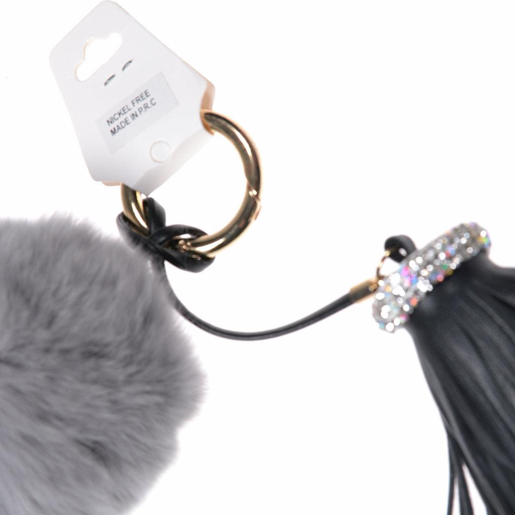Quaste Fellbommel grau schwarzTaschenanhänger - aby-fashion