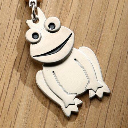 Schlüsselanhänger Frosch Froschkönig Metall silberfarben