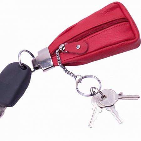 Anhänger Schlüssel Schlüsseltasche Farbe rot Schlüsselring Metall massiv Rindleder