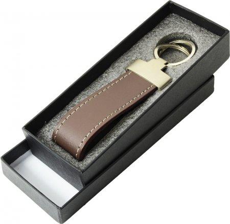 Anhänger für drei Schlüssel Geschenkbox Schlüsselanhänger Rindleder Farbe braun drei Ringe
