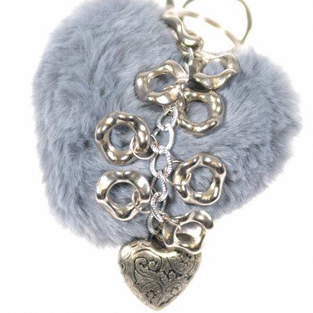 Herz Puschel Kunstfell grau Herz Messing Taschenanhänger Schlüsselanhänger