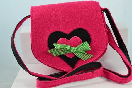 Kleine Filztasche Dirndltasche pink Umhängetasche Trachtenmode Filztasche