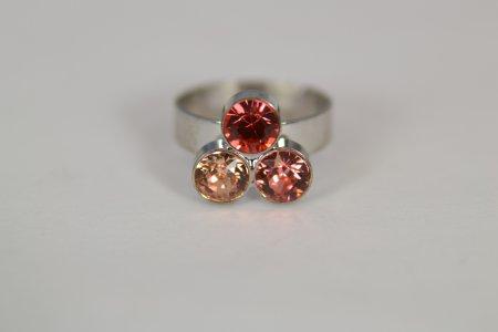Modeschmuck Ring silberfarben verstellbar Swarovski Kristallen bunte Steine