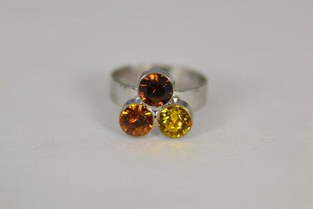 Modeschmuck Ring silberfarben Swarovski Elements Braun Mix verstellbar Modeschmuck
