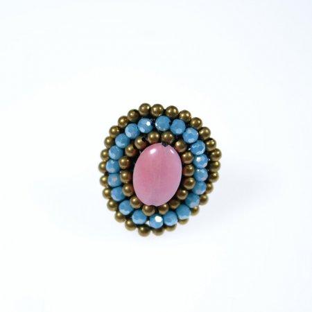 Ring orientalisch Perlenreihen Stein Mitte pink Modeschmuck