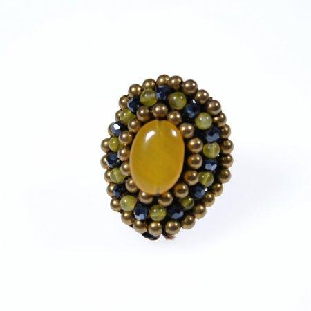 Ring orientalisch Perlenreihen Stein Mitte gelb Modeschmuck