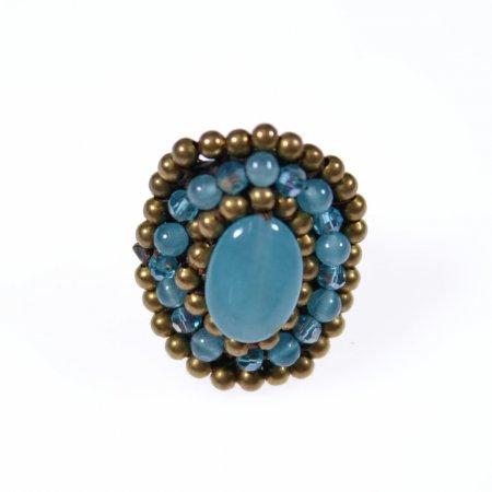 Ring orientalisch Perlenreihen Stein Mitte blaugrün Modeschmuck