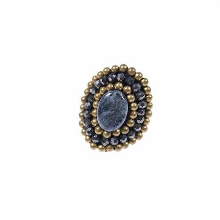 Ring orientalisch Perlenreihen Stein Mitte dunkelgrau Modeschmuck