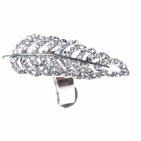 Ring Blatt silberfarben Accessoire Modeschmuck
