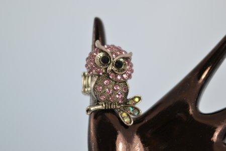 Stretchring Eule Ring silberfarben aufgesetzte Eule Accessoires Modeschmuck