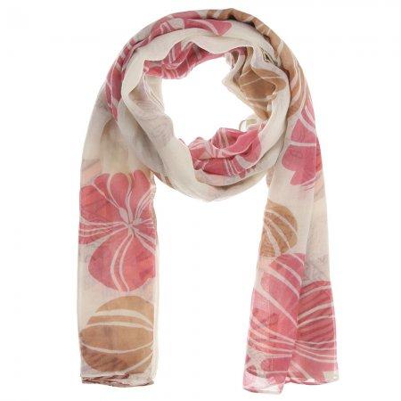 Damenschal cream Muster floral und Herzen mehrfarbig