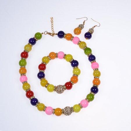 Schmuckset Kette Ohrringe Armband bunt Modeschmuck Accessoires