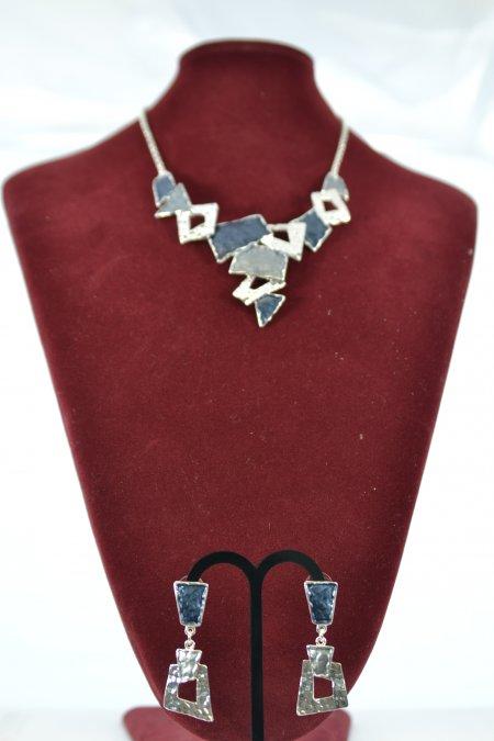 Schmuck Set Statementkette Halskette Ohrringe silberfarben