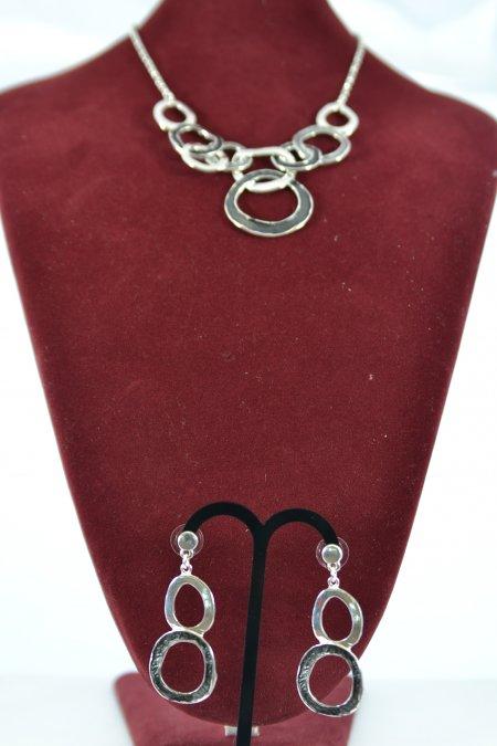 Schmuck Set Halskette Ohrringe silberfarben Statementkette