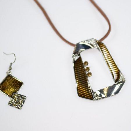 Fashion Jewelry Modeschmuck Set Kette kurz Lederband braun Ohrhänger silber gold oliv