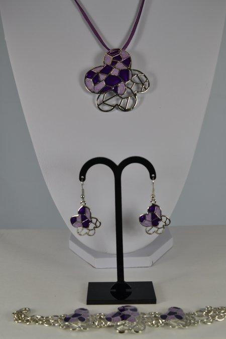 Schmuckset Kette Lederband Ohrringe Armband lila rosé