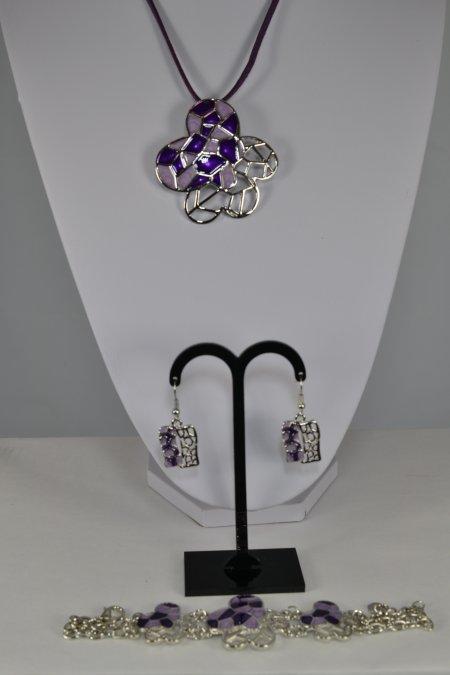 Schmuckset Kette Ohrringe Armband silberfarben lila