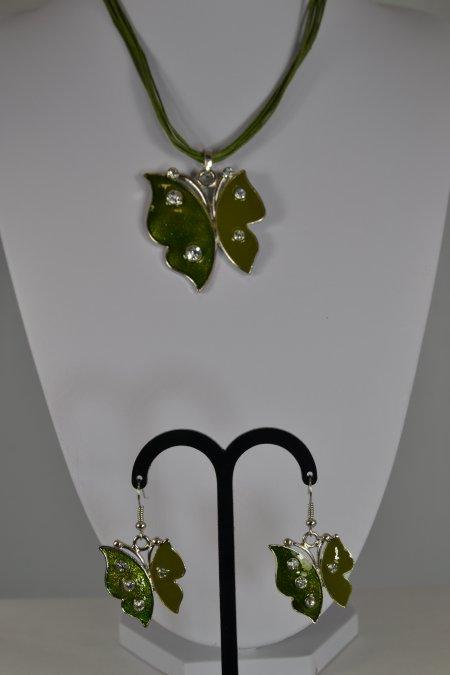 Schmuck Set Ketten mit Schmetterlingsanhänger Ohrringe grün Glitzersteine