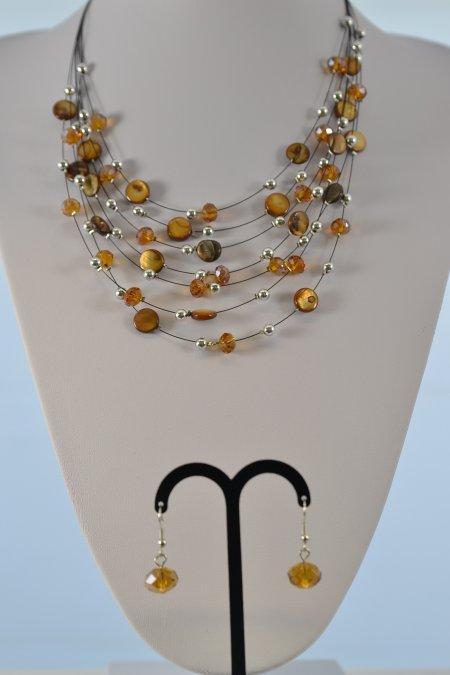 Schmuck Set Halskette und Ohrringe braun silber
