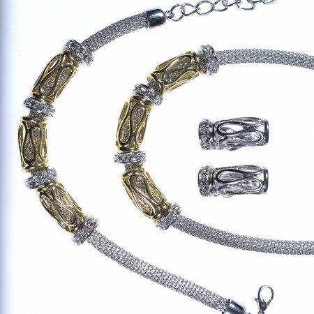 Schmuckset dreiteilig Collier Armband Ohrclipse mit Strass zweifarbig