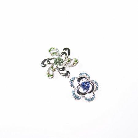 Broschen Set Blumen silberfarben blau und grün Modeschmuck