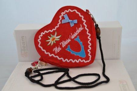 Trachtentasche Herzform rot Oktoberfest Dirndltasche