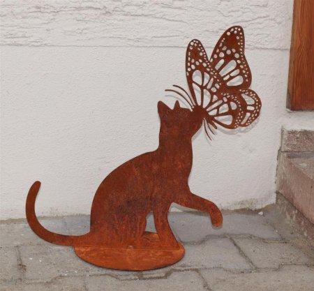 Gartendeko Katze Schmetterling Edelrost Metalldekoration Platte D20cm