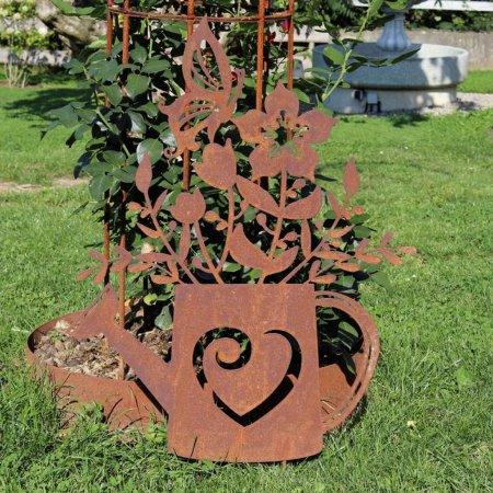 Outdoor Dekoration Rostprodukt Gießkanne Blumen Edelrost Metalldekoration
