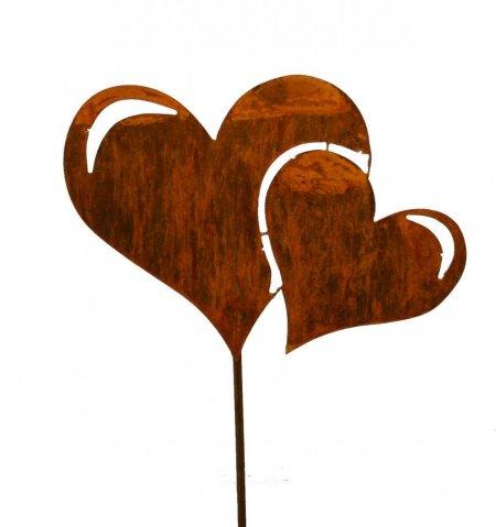 Stab und Herz Garten Dekoration Herz doppelt Edelrost Stab 100cm