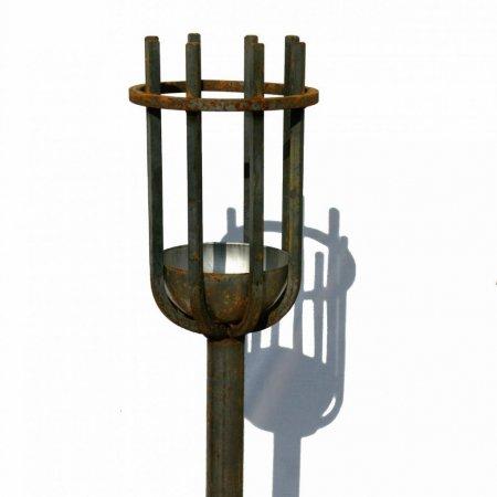 Outdoor Beleuchtung Flamme Metall Gartenfackel Schmiedeeisen Höhe 118cm Wachseinsatz