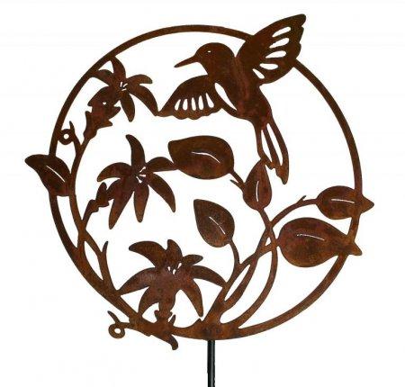 Gartendeko Edelrost Metalldekoration Kolibri Ornament Form rund